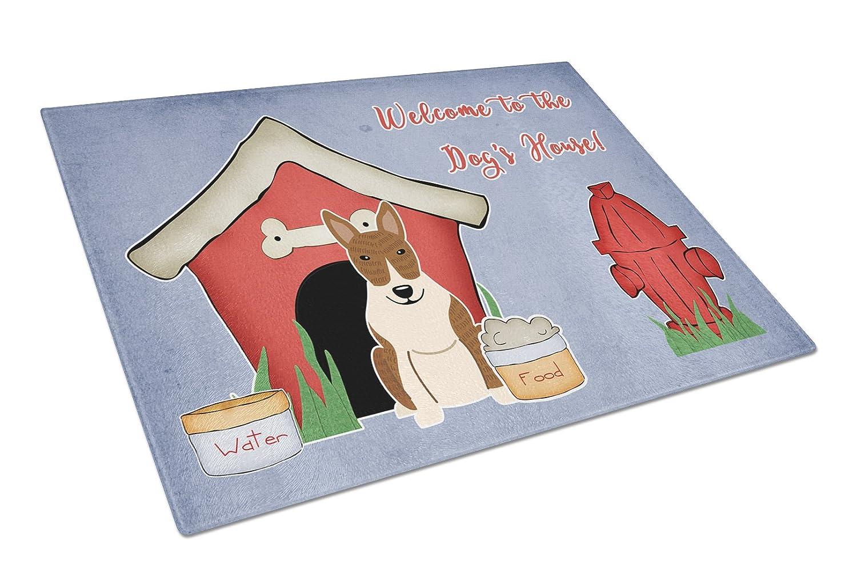 Caroline tesoros del bb2891lcb perro casa colección Bull Terrier Brindle cristal tabla de cortar, tamaño grande, Multicolor: Carolines Treasures: ...
