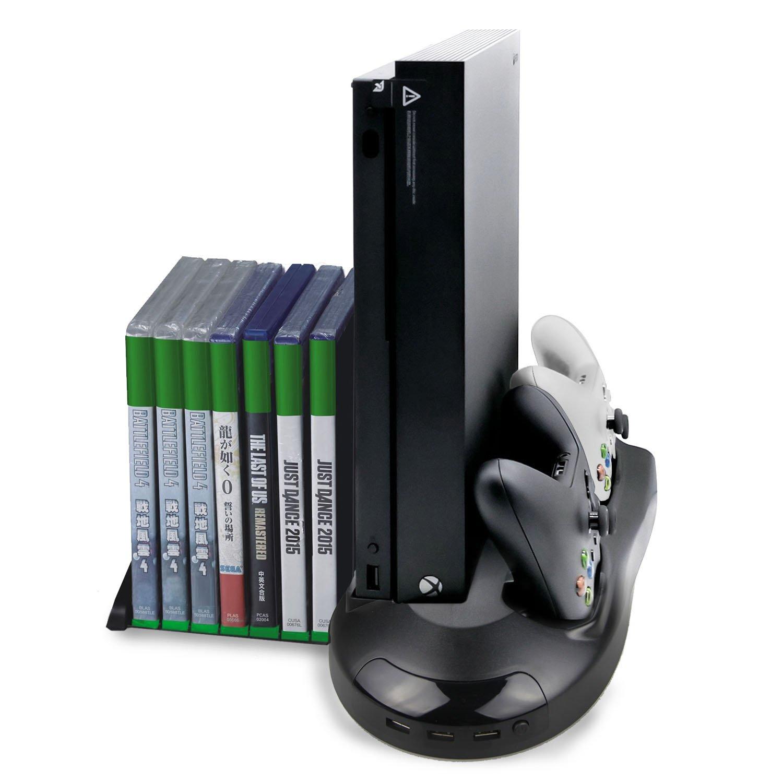 Vniqloo Soporte para Xbox One X con Ventilador de Refrigeración y Estación de Carga de Mandos, con 7 Ranuras de Juego y 3 Puertos Hub USB(Compatible Solo ...