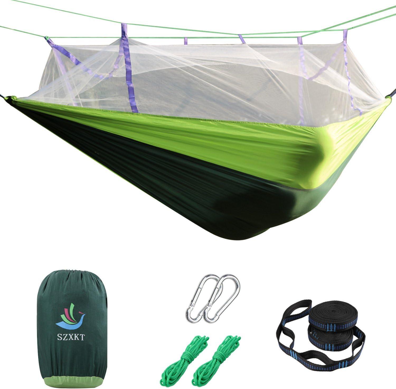 SZXKT Camping Double Hammock Mosquito Net Outdoor Hammock Travel Bed Lightweight Parachute Fabric Double Hammock, Portable Hammock for Travel, Hiking, Backpacking, Beach, Yard Green Dark Green