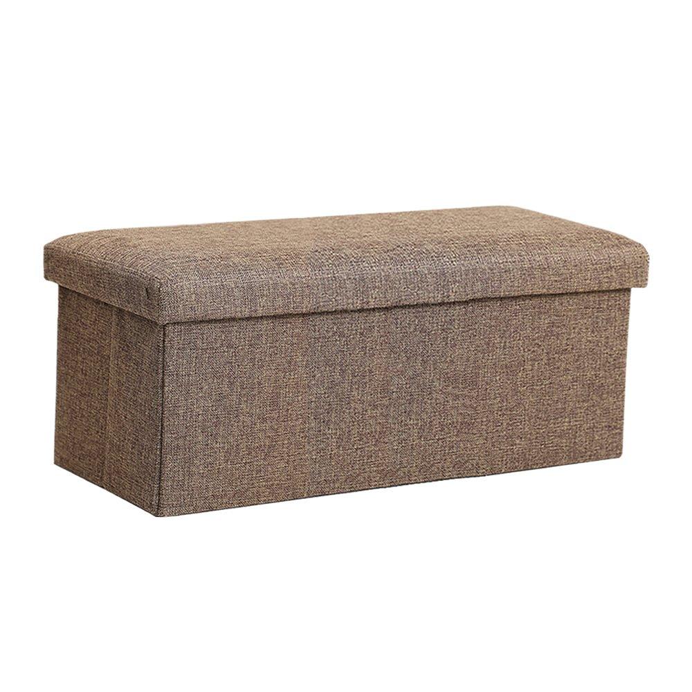 InSassy Folding Storage Ottoman Bench Foot Rest Toy Box Hope Chest Linen-like Fabric - Medium - Brown