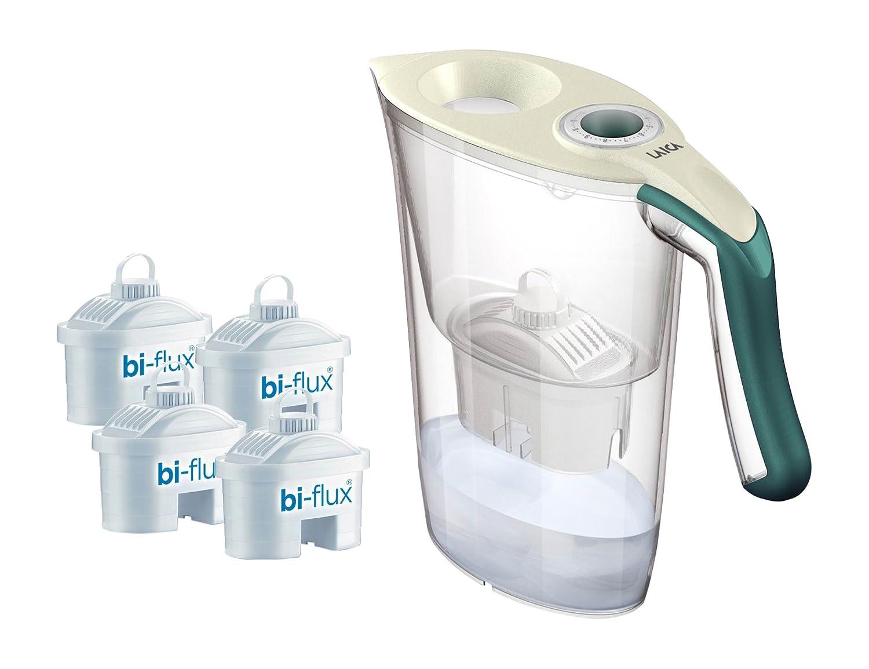 Laica Kit J9059 Caraffa filtrante per il trattamento dell'acqua Carmen Tosca con 4 Filtri Bi-flux, Crema e Verde Scuro J9059A1