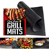Chef Remi Grill Mat - Set of 2 Heavy Duty Reusable BBQ Grilling Mats - 16 x 13 Inch - Voted Best Rated Barbecue Accessories -