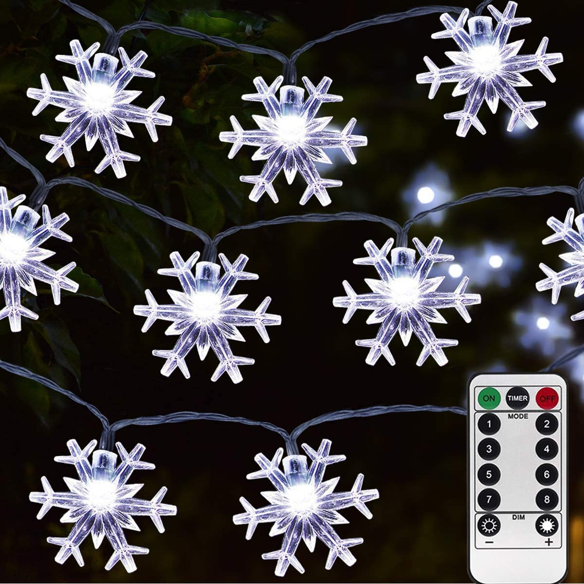 Homeleo 50 Led Cold White Snowflake LED Fairy Lights with Remote Control, Battery Powered Snowflake Shaped LED String Lights for Christmas Outdoor, Party, Wedding, New Year, Garden Décor