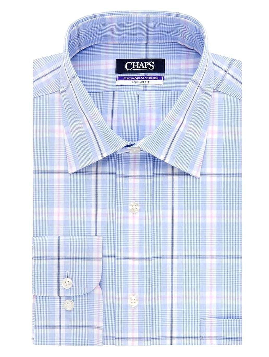 Chaps Mens Regular Fit 100 Cotton Stretch Collar Dress Shirt Blue