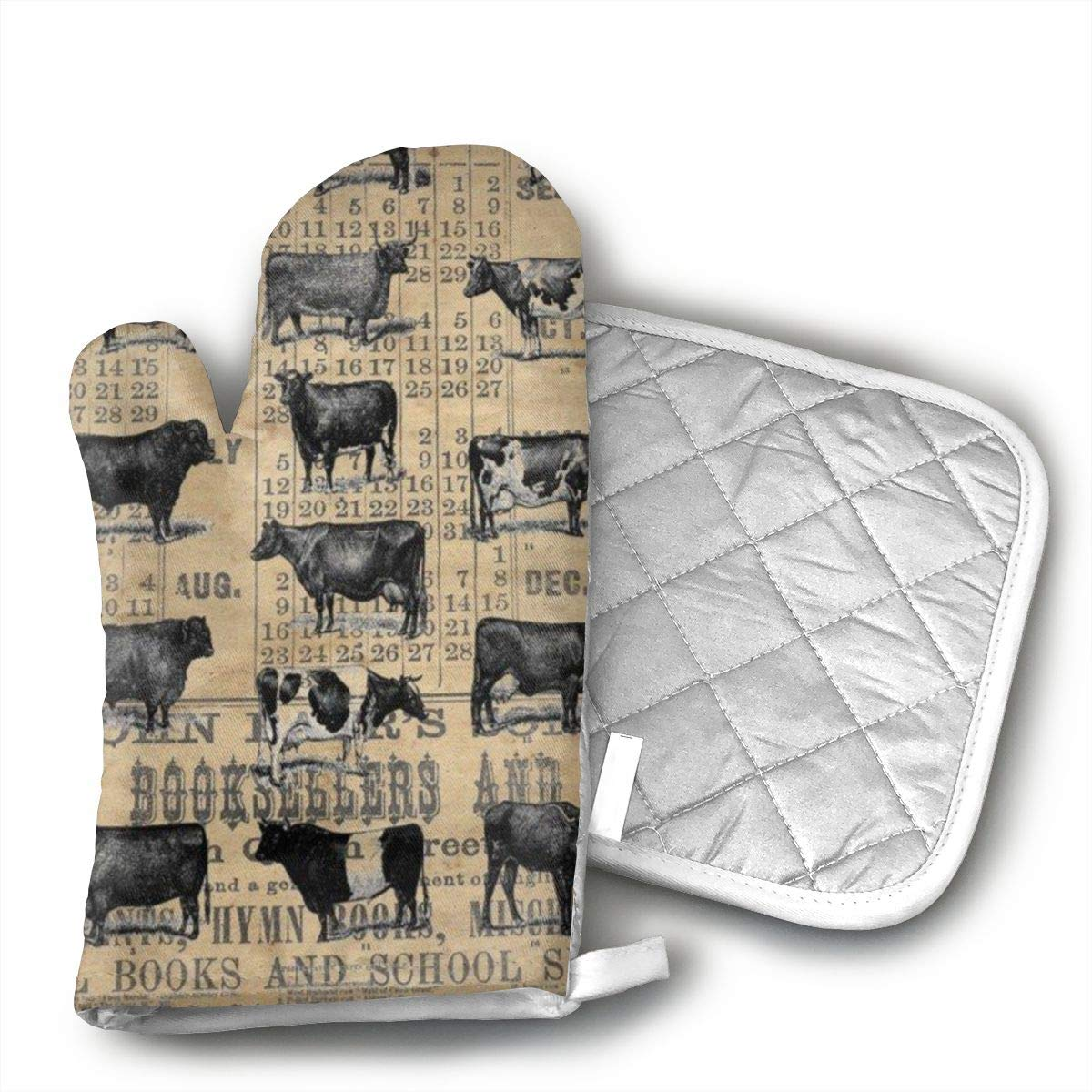 UYRHFS Vintage 1896 Cows Study On Antique Lancaster County Almanac Oven Mitts and Pot Holder Kitchen Set with, Heat Resistant, Oven Gloves and Pot Holders 2pcs Set for BBQ Cooking Baking