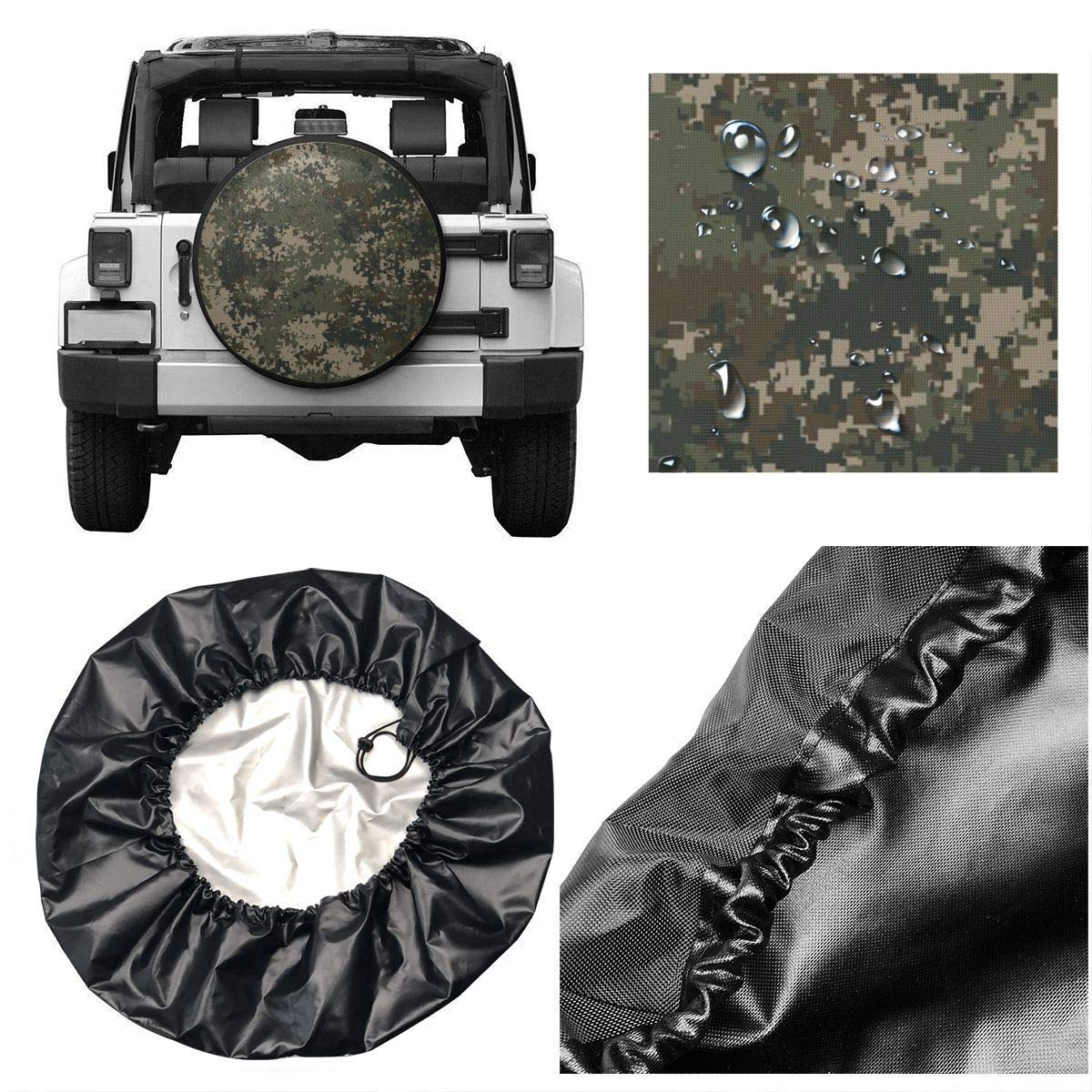 Blue Fiction White Abstract Black Flower Universal Fit Spare Tire Cover Waterproof Keeps Dirt Rain and Sun Away from Your Spare Tire Vbnbvn Reserveradabdeckung