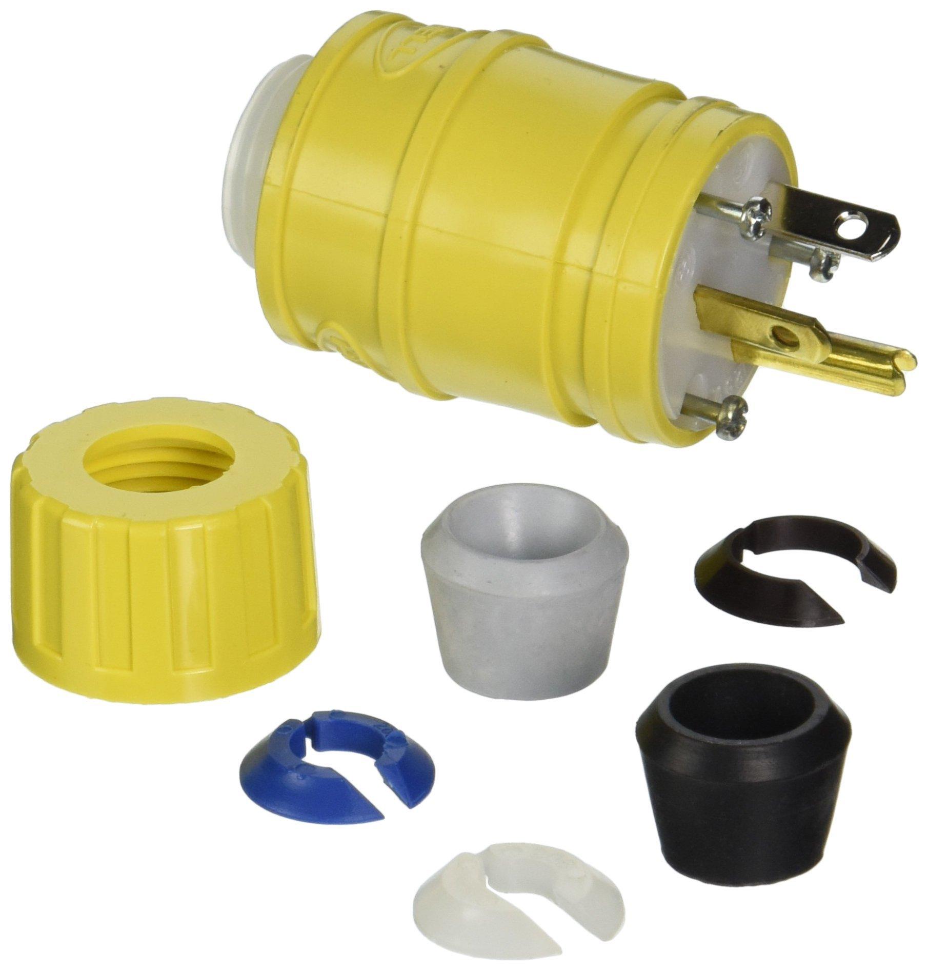 Hubbell HBL14W33 ElastoGrip Watertight Plug, 20 amp, 125V, 5-20P