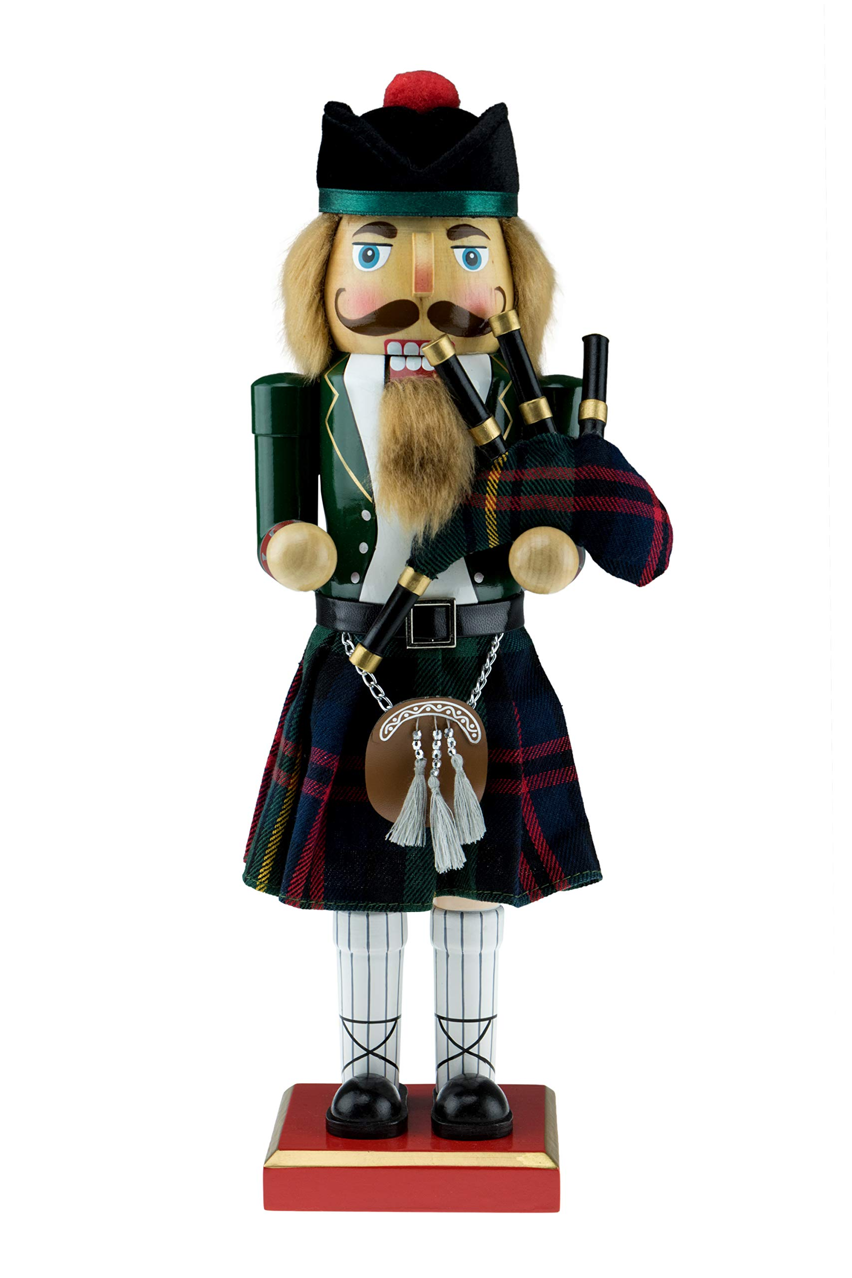 "Scottish Soldier Nutcracker by Clever Creations | Wearing Scottish Outfit with Bag Pipes | Festive Collectable Christmas Decor | Perfect for Shelves and Tables | 100% Wood | 14"" Tall with Bagpipes"