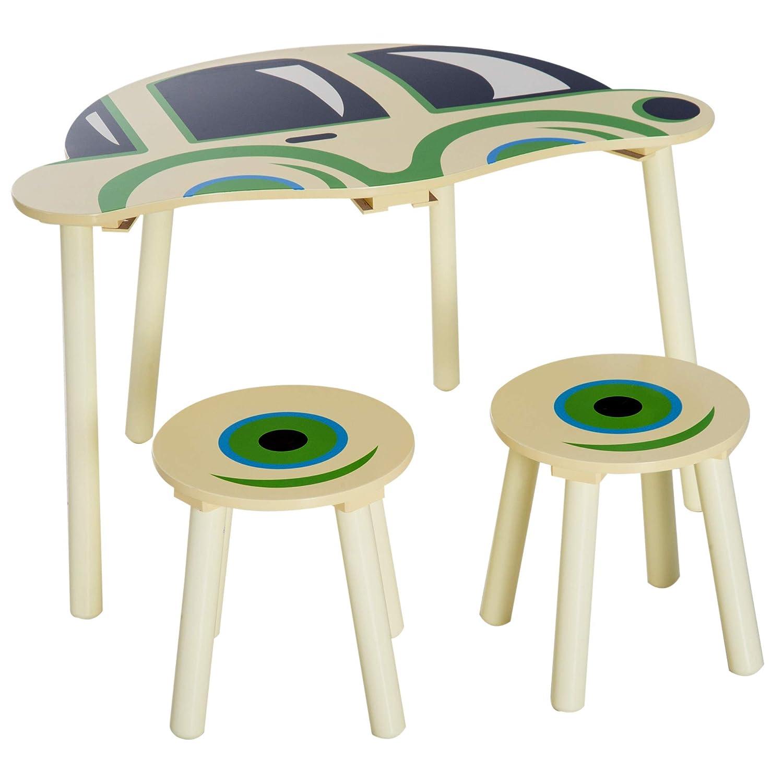 Homcom Ensemble Table et chaises Enfants Design Voiture MDF Bois de pin Beige Vert