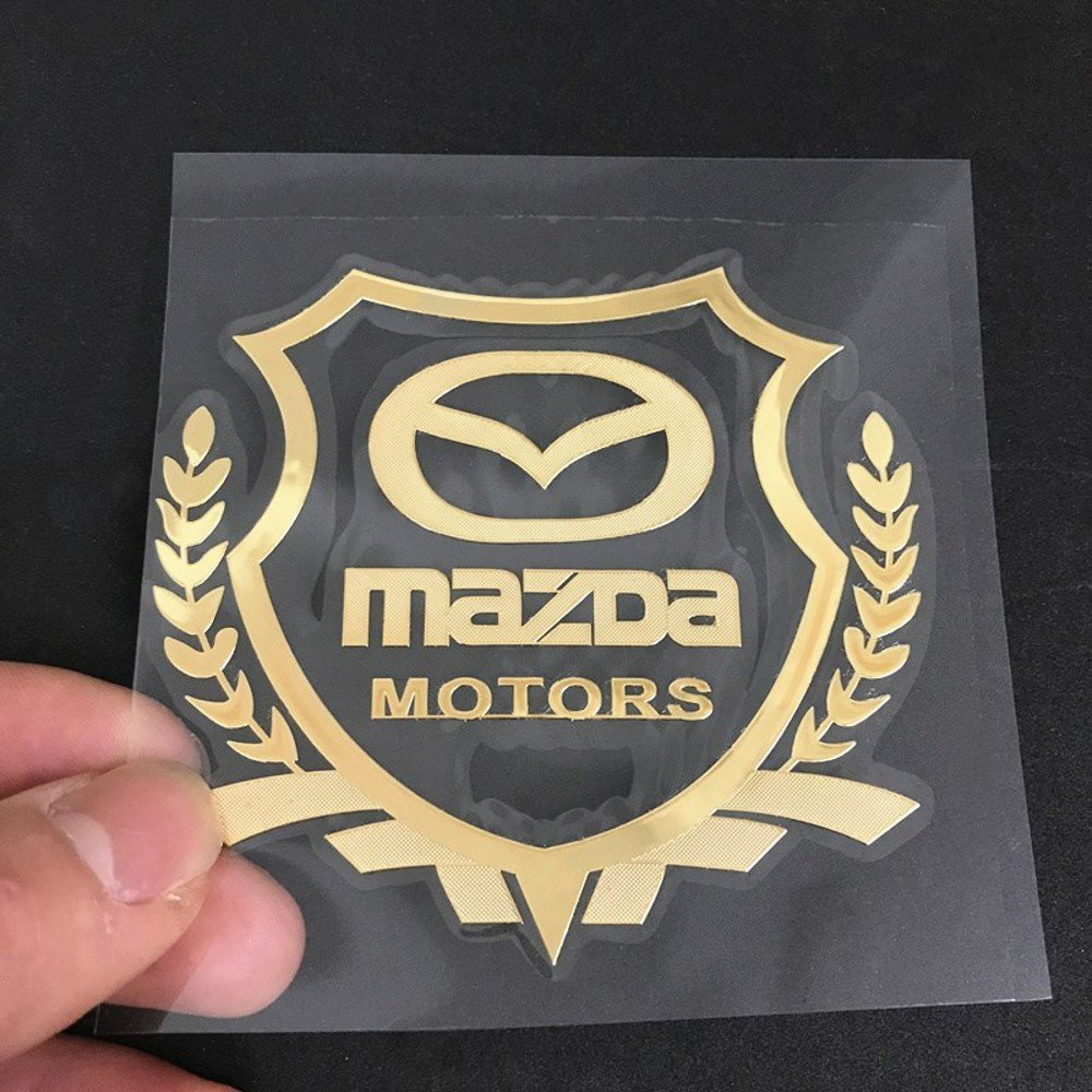 Wallner gold Fender Side Car Styling metal car windows sticker logo stickers car side sticker for Mazda 2.36inch X2.17inch, Gold
