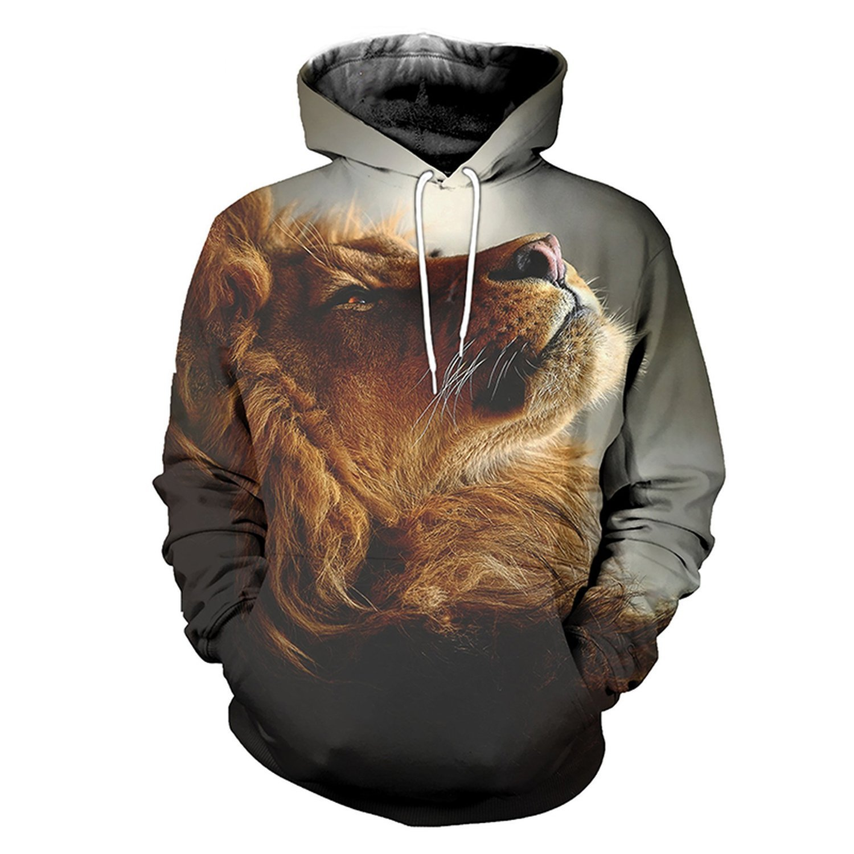Men 3D Lion Print Long Sleeve Autumn Hooded Sweatshirts Pullover Front Kangaroo Pocket