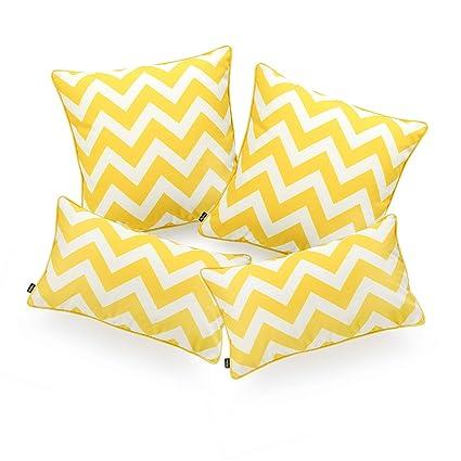Hofdeco Decorative Lumbar Pillow Cover INDOOR OUTDOOR WATER RESISTANT Canvas Vivid Yellow Grey Zigzag Chevron 12x20