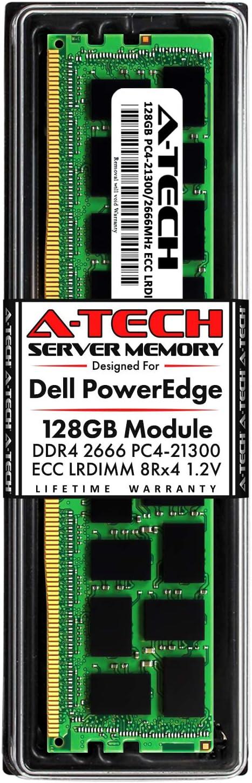 A-Tech 128GB Memory for Dell PowerEdge R440, T440, R540, R640, T640, M640, FC640, R740, R740XD, R940, C6420 | DDR4 2666MHz ECC LRDIMM PC4-21300 8Rx4 1.2V 288-Pin DIMM Server RAM Upgrade Module