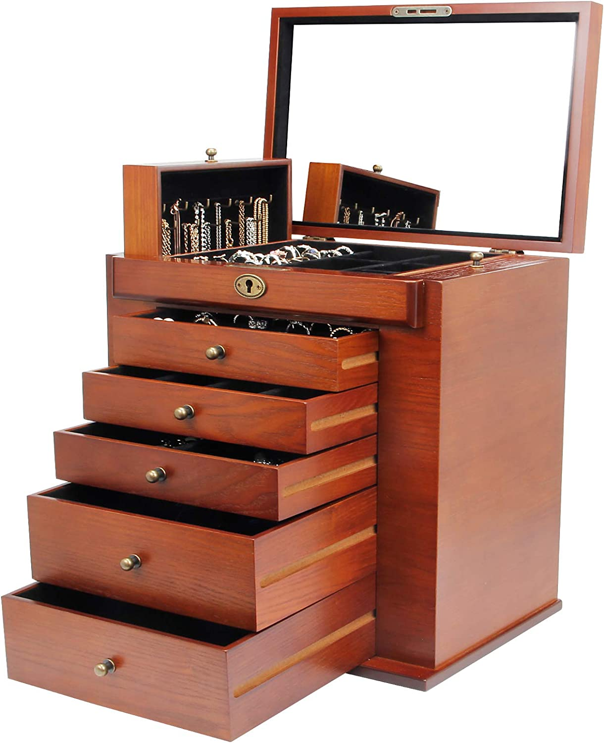 Homde Large Wooden Jewelry Box Cabinet Armoire With Lock For Women Girls Ring Ebay