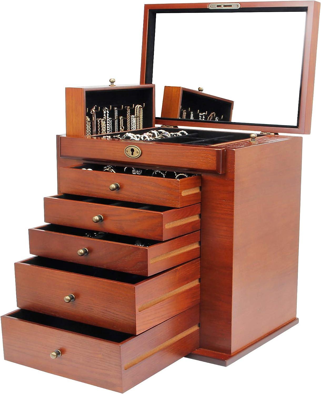 Homde stylish brown wood dresser with mirror