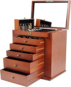 Homde Large Wooden Jewelry Box/Cabinet/Armoire with Lock for Women Girls Ring Necklace