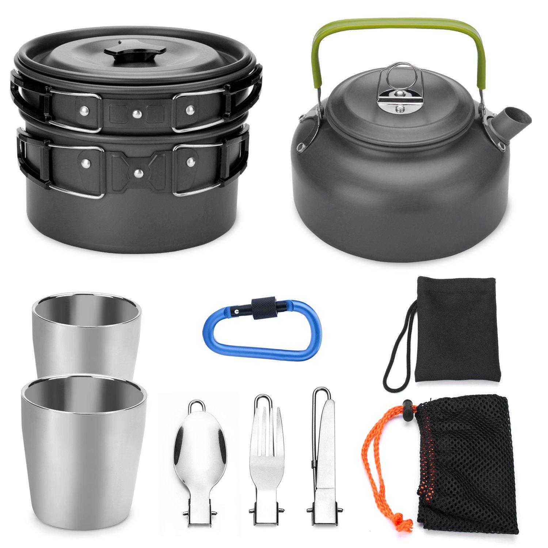 14Pcs Camping Cookware Kit with Stove Cooking Picnic Bowl Spoon Pot Pan Set