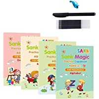 kelebin Magic Practice Copybook Set Magic Calligraphy That Can Be Reused English Tracing Book Number Tracing Book for…