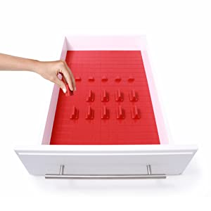 KMN Home DrawerDecor Customizable Organizer, Drawer and Shelf Cabinet Liners, Non-Slip and Easy Clean, Deluxe Starter Kit, 16 Piece - Red