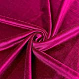 Stretch Velvet Fabric 60'' Wide by The Yard for Sewing Apparel Costumes Craft (1 Yard, Magenta)