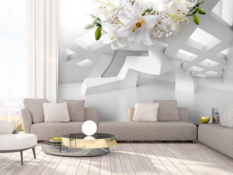 murando Papier peint intiss/é Fleurs Lys 350x256 cm D/écoration Murale XXL Poster Tableaux Muraux Tapisserie Photo Trompe loeil Abstrait Fleurs 3D Optique dillusion a-A-0296-a-a