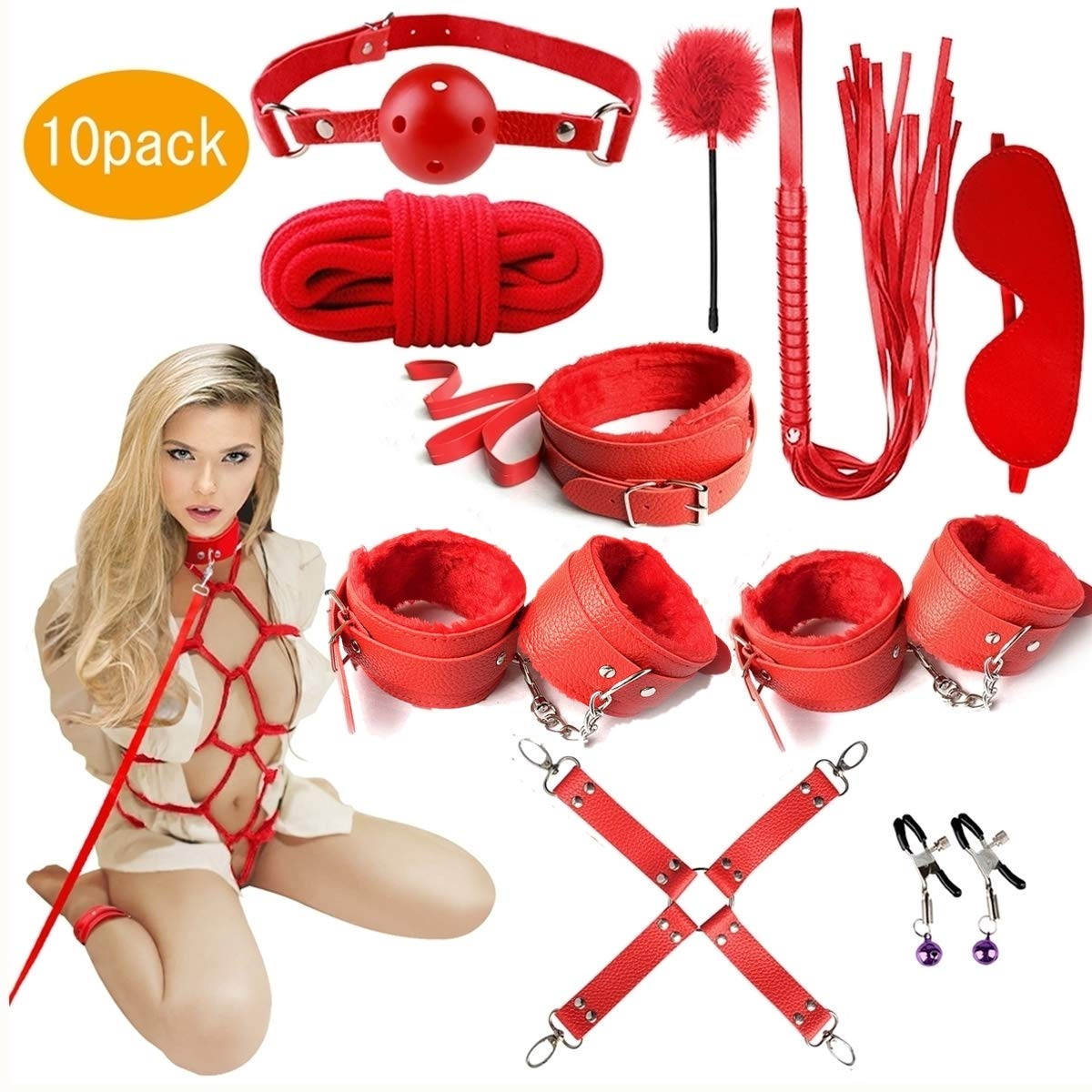 BDSM Restraints Sex Toys Bondage Restraints Set Fetish Bed Restraints Kits for Beginners SM Adult Games Safe Cosplay BDSM Cuffs Nipple Clamps Flogger Ball Gag Blindfold Rope Red 10 by MISSTU