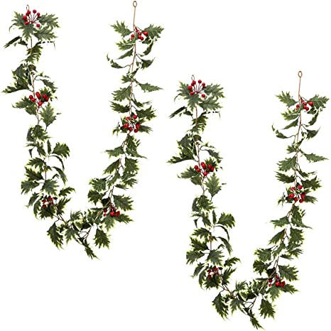 ANPHSIN 2 Pcs 5.6 ft Christmas Red Berry Garland with White-Edged Leaves Artificial Xmas Red Berry Garland for Home Winter Indoor Outdoor Garden Gate Decoration New Year Holiday Fireplace Decor
