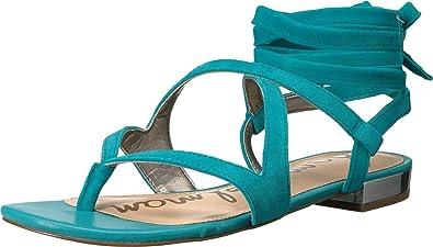 8dfe8c071c777 Sam Edelman Women s Davina Gulf Blue Kid Suede Leather Sandal