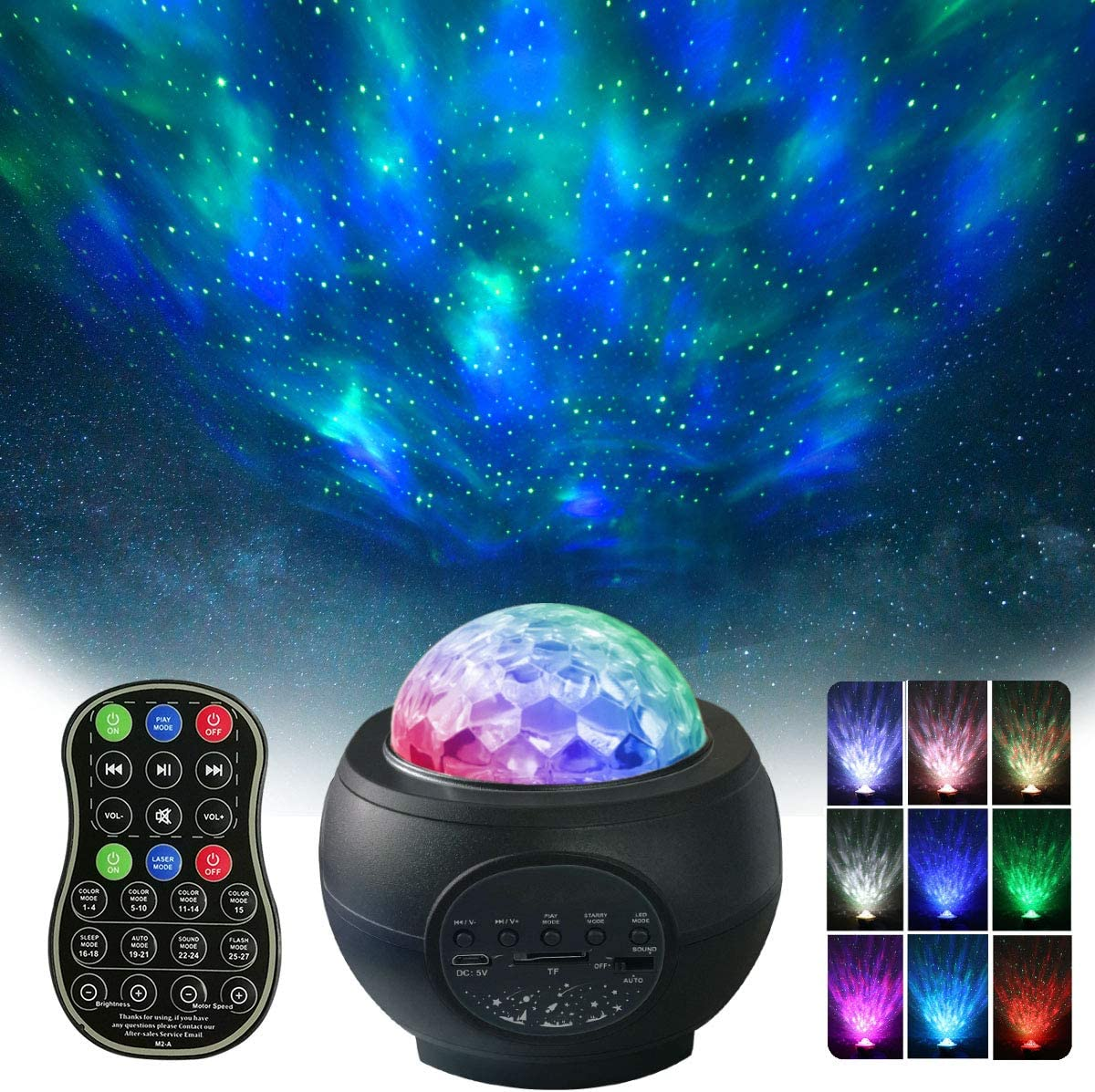 Black Galaxy Projector BSYUN 2nd Version 3 in 1 Sound Activated Night Lights Projector with Remote Control for Bedroom Room Ceiling D/écor Gift for Kids Adults