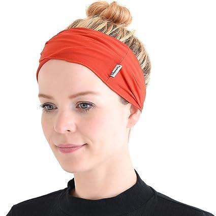 4389e92011f CHARM Mens Womens Elastic Bandana Headband Japanese Long Hair Dreads Head  Wrap Vivid Orange