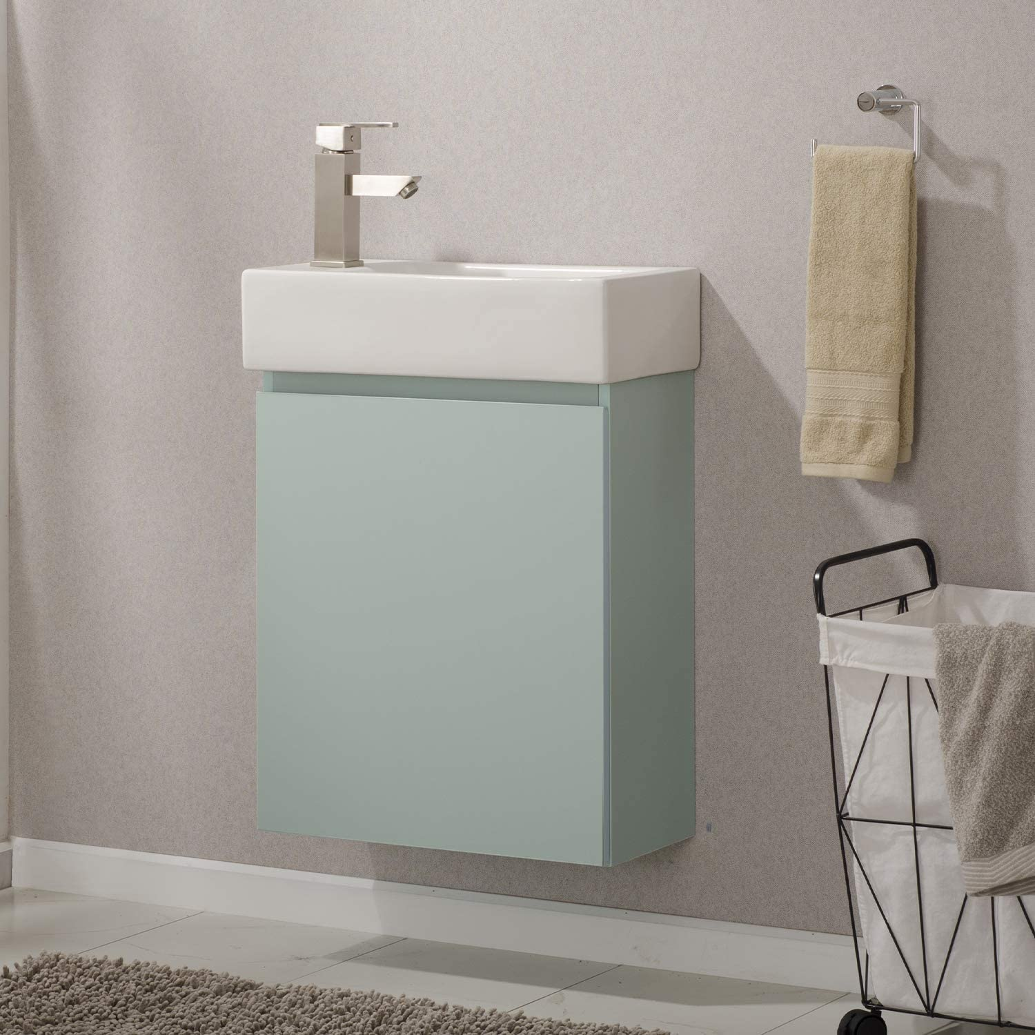 Made with Hardwood and Integrated Porcelain Top, Wall Hung Style Luca Kitchen /& Bath LC20KRP Nova 20 Bathroom Vanity with Sink in Blue Mint