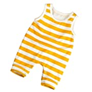 Younger Tree Toddlers Infant Baby Boys Girls Romper Sleeveless Yellow White Stripe Print Jumpsuit Outfit Clothes (Yellow, 12-18 m)