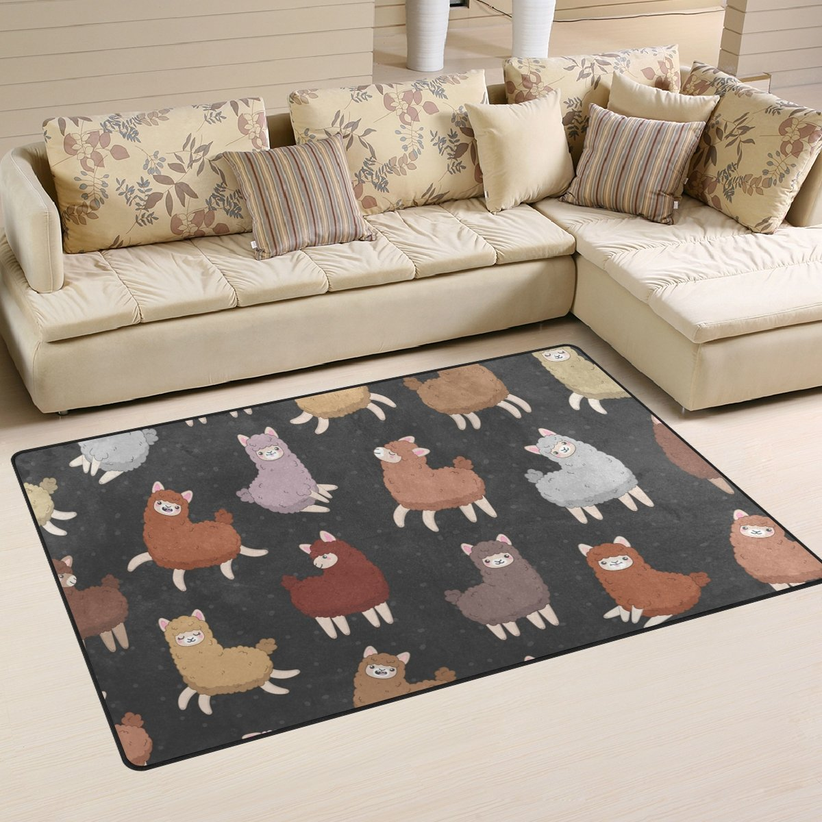WellLee Area Rug,Cute Animal Fluffy Llama Alpaca Floor Rug Non-Slip Doormat for Living Dining Dorm Room Bedroom Decor 60x39 inch