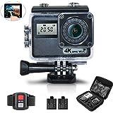 HECION アクションカメラ 水中カメラ スポーツカメラ ドライブレコーダー ウェアラブルカメラ 2.0インチタッチ式液晶 手振れ補正1600万画素 4k wifi バッテリー2個 HC1801AK