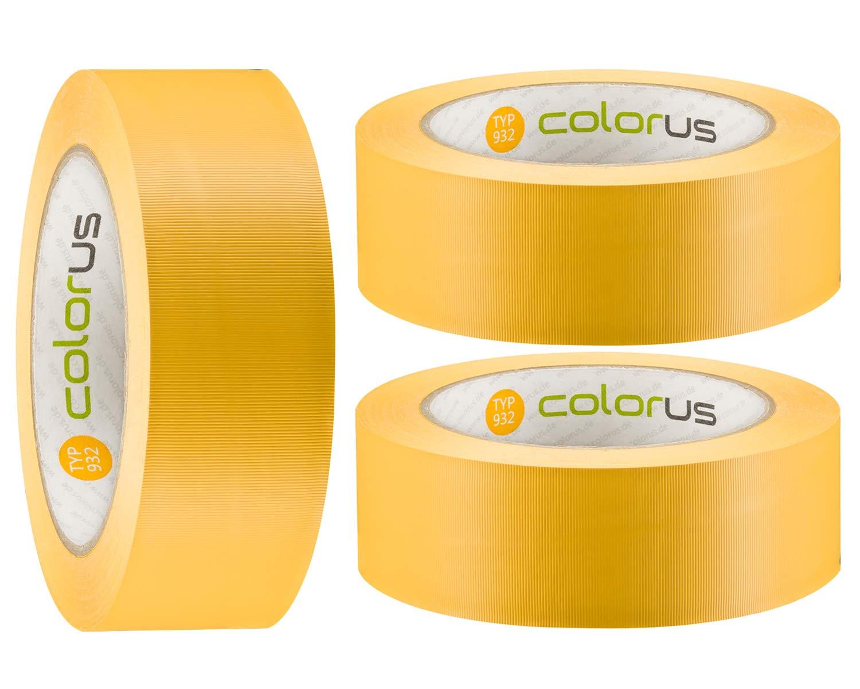 14 Tage UV-Best/ändigkeit R/ückstandsfrei entfernbar 3 x Colorus PVC-Band PLUS Malerbedarf Gipser Klebeband 38 mm x 33 m gelb gerillt Au/ßen Kunststoff-Klebeband f/ür Innen