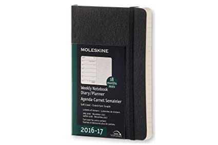 Moleskine 2016-2017 Weekly Notebook, 18M, Pocket, Black, Soft Cover (3.5 x 5.5)