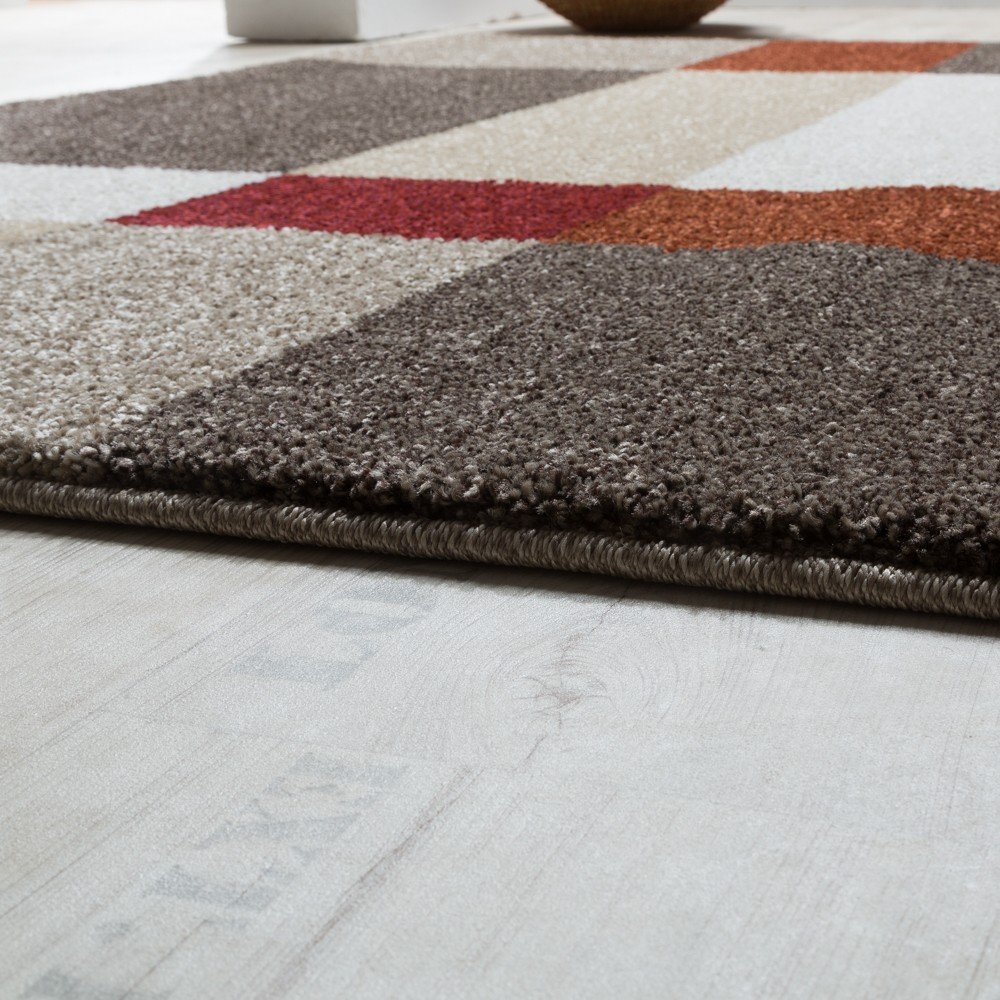Paco Home Grösse Schwerer Webteppich Karo Muster Beige Terrakotta, Grösse Home 120x170 cm a645cb