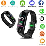 SM NATURES Smart Band Fitness Tracker Watch Heart Rate with Activity Tracker Waterproof Body Functions Like Steps Counter, Calorie Counter, Blood Pressure, Heart Rate Monitor LED Touchscreen
