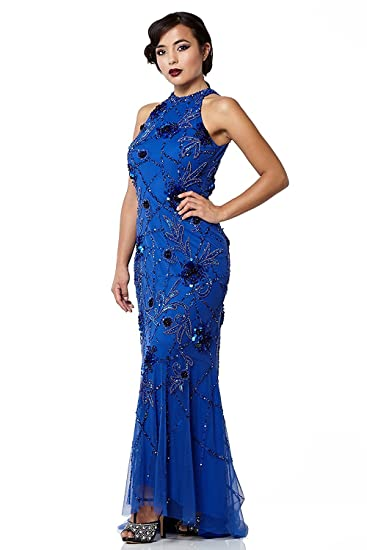 gatsbylady london Agnes Vintage Inspired Maxi Prom Dress in Royal Blue (US4 EU36)
