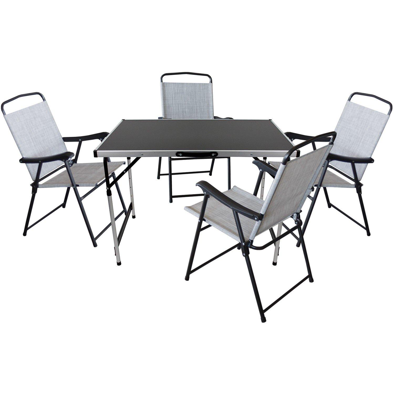 5er Set Camping Sitzgruppe Sitzgarnitur Klapptisch 100x60cm + 4x Klappstühle mit Textilengewebe Schwarz/Grau