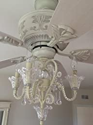 Amazon.com: Crystal Bead Antique-White Candelabra Ceiling Fan Light