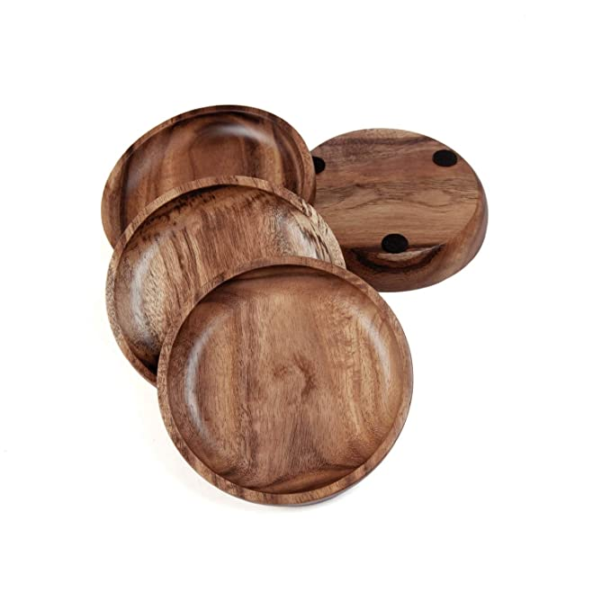 Wooden Coasters for Drinks Tabletop Protection for Any Table Type Natural Acacia Wood Drink Coaster Set for Drinking Glasses Dia 4 x 0.75 Inches Set of 4