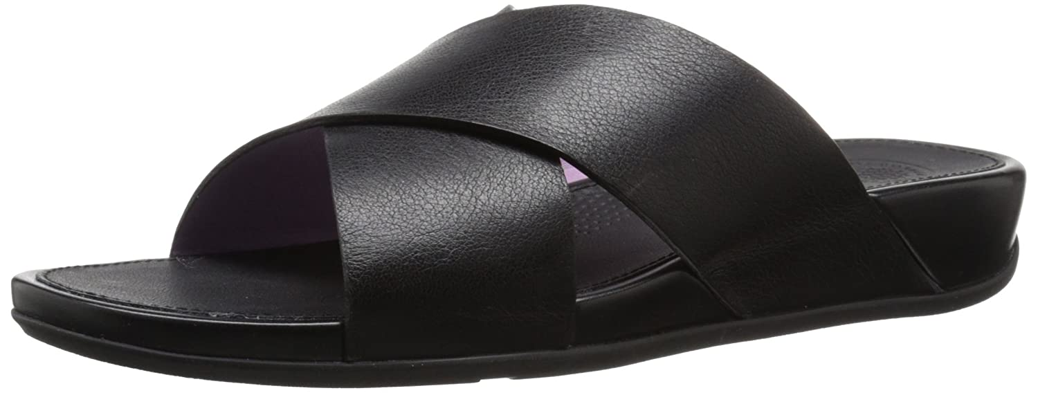 26f6b285e419c Fitflop Women s Aix Leather Slide Sandals Dress Sandal Black  Amazon.co.uk   Shoes   Bags