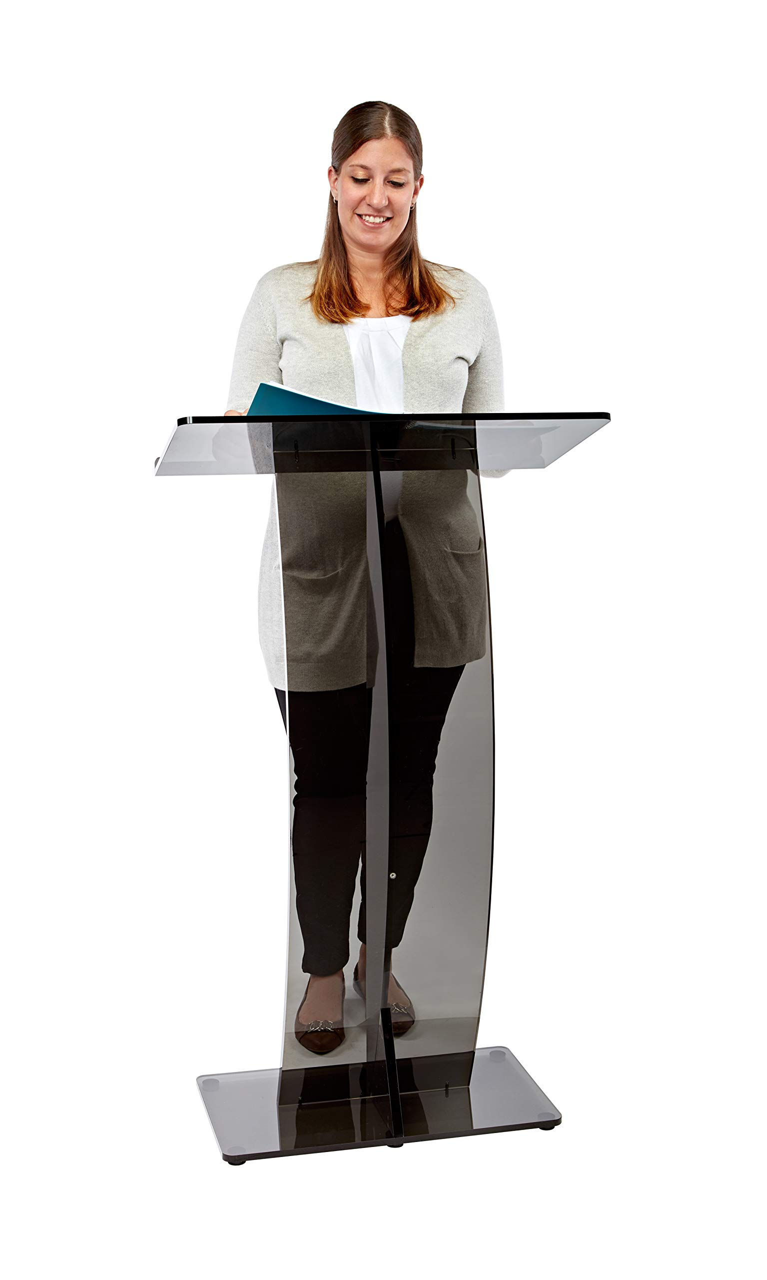 AdirOffice Slanted Speaker's Podium Lectern 12.5'' x 26.8'' x 47– Easy to Setup Curved Stand Design for Lectures Recitals Speech & Presentations (Black)