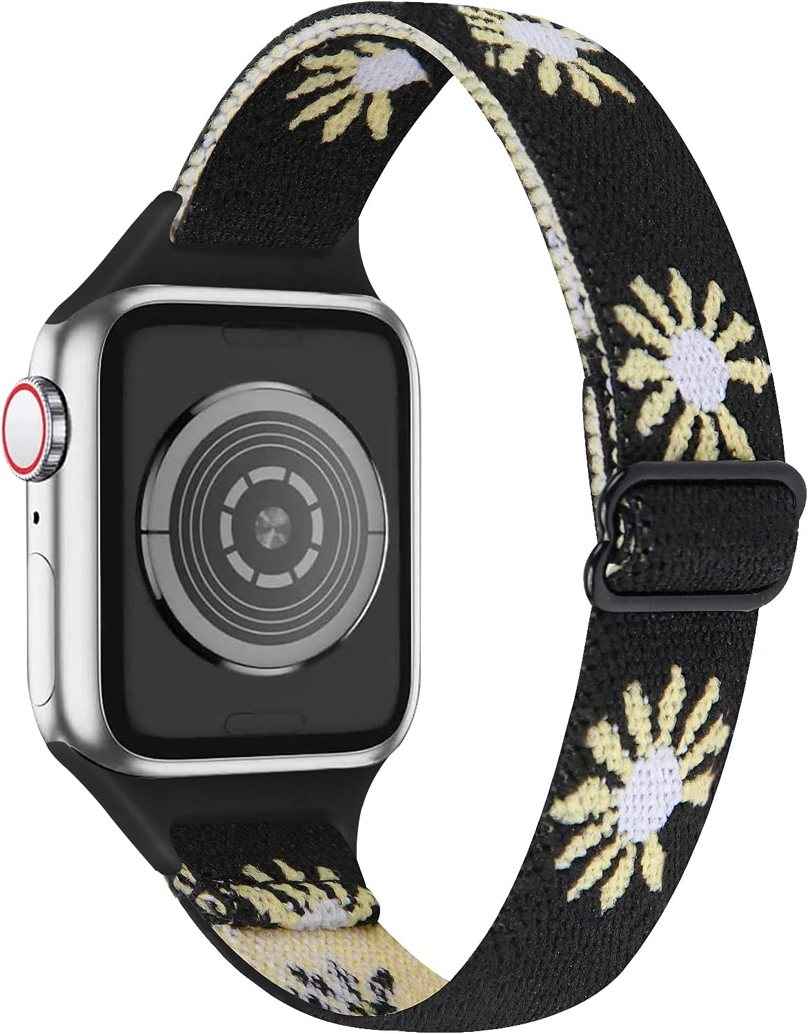 MEFEO Elastic Bands Compatible with Apple Watch Bands 38mm 40mm 42mm 44mm, Adjustable Nylon Sport Wristbands Replacement for iWatch Series 6/5/4/3/2/1/SE(Black Flower,38mm/40mm)