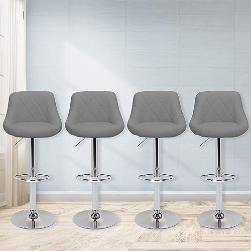 Magshion Faux Leather Bar Stools Adjustable 360 Degree Swivel Backrest Footrest Barstool Set of 4