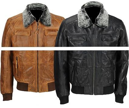 24864040836 Spazeup Mens Vintage Bomber Fur Collar Retro Biker Real Leather Pilot Jacket  at Amazon Men s Clothing store