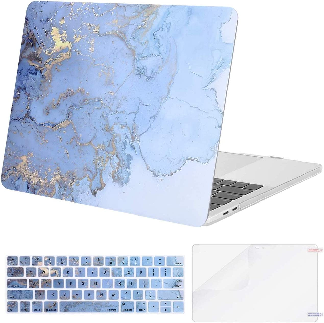 MOSISO Compatible with MacBook Pro 15 inch Case 2016-2019 Release A1990 A1707 with Touch Bar, Plastic Watercolor Marble Hard Shell Case & Keyboard Cover Skin & Screen Protector, Blue