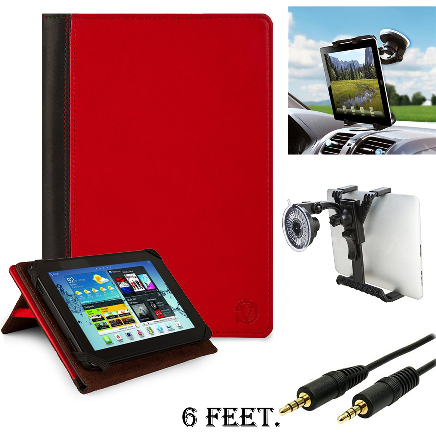 Premium Hard Cover Portfolio Jacket Mary Case, Stand Alone, Lightweight, Protective Slimline Sturdy, Flip Folio Book Style Design For Set1 For HP SlateBook X2 10.1 inch Android 4.2 (Jelly Bean) Tablet + 3.5mm Stereo Audio Cable (6 feet) + Size Adjustable