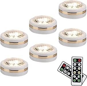 LEASTYLE LED Puck Lights With Remote Battery Operated,Wireless Dimmable Under Cabinet Light for Kitchen, hallway,Closet,Pantry,Basement(6 Pack)